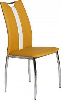 Tempo Kondela Jídelní židle OLIVA - chrom/ekokůže žlutá kari/bílá + kupón KONDELA10 na okamžitou slevu 10% (kupón uplatníte v košíku)