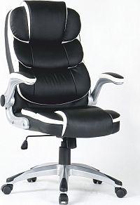 Tempo Kondela Kancelářské křeslo SARAKA - ekokůže bílá / černá + kupón KONDELA10 na okamžitou slevu 3% (kupón uplatníte v košíku)