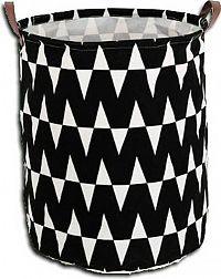 Tempo Kondela Koš na prádlo PLEJO TYP 1 - černý / vzor bílá + kupón KONDELA10 na okamžitou slevu 3% (kupón uplatníte v košíku)
