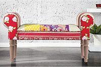 Tempo Kondela Lavice, vzor červený / natural nohy, CHARADE + kupón KONDELA10 na okamžitou slevu 10% (kupón uplatníte v košíku)