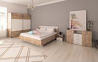 Tempo Kondela Ložnicový komplet (postel 160x200 cm), dub Wotan / bílá, GABRIELA + kupón KONDELA10 na okamžitou slevu 10% (kupón uplatníte v košíku)
