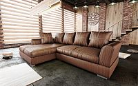 Tempo Kondela Luxusní sedací souprava ANONA ROH - hnědá látka s efektem broušené kůže, levá + kupón KONDELA10 na okamžitou slevu 10% (kupón uplatníte v košíku)