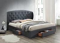 Tempo Kondela Manželská postel OLINA,  cm - šedá + kupón KONDELA10 na okamžitou slevu 3% (kupón uplatníte v košíku)