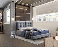 Tempo Kondela Moderní postel KOLIA,  - šedá + kupón KONDELA10 na okamžitou slevu 10% (kupón uplatníte v košíku)