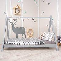 Tempo Kondela Montessori postel GROSI - borovicové dřevo / šedá + kupón KONDELA10 na okamžitou slevu 3% (kupón uplatníte v košíku)