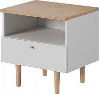 Tempo Kondela Noční stolek, bílá / buk pískový, Laveli LS50 + kupón KONDELA10 na okamžitou slevu 10% (kupón uplatníte v košíku)