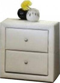 Tempo Kondela Noční stolek, dvouzásuvkový, ekokůže bílá, FANTASY NEW + kupón KONDELA10 na okamžitou slevu 10% (kupón uplatníte v košíku)