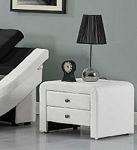 Tempo Kondela Noční stolek WILSON - ekokůže, bílá + kupón KONDELA10 na okamžitou slevu 10% (kupón uplatníte v košíku)