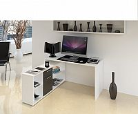 Tempo Kondela PC stůl NOE NEW - bílá / černá + kupón KONDELA10 na okamžitou slevu 10% (kupón uplatníte v košíku)