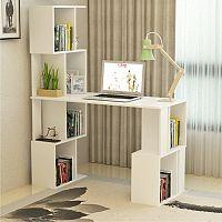 Tempo Kondela PC stůl s regálem FLOKI - bílý + kupón KONDELA10 na okamžitou slevu 10% (kupón uplatníte v košíku)