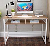 Tempo Kondela PC stůl, světlý ořech / bílá, HARALD + kupón KONDELA10 na okamžitou slevu 10% (kupón uplatníte v košíku)