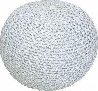 Tempo Kondela Pletený taburet GOBI TYP 2 - smetanová (bílý melír) bavlna + kupón KONDELA10 na okamžitou slevu 10% (kupón uplatníte v košíku)
