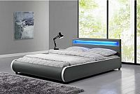 Tempo Kondela Postel DULCEA s RGB LED osvětlením  - šedá ekokůže + kupón KONDELA10 na okamžitou slevu 10% (kupón uplatníte v košíku)