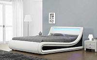 Tempo Kondela Postel MANILA s RGB LED osvětlením  - bílá / černá + kupón KONDELA10 na okamžitou slevu 10% (kupón uplatníte v košíku)