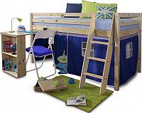 Tempo Kondela Postel s PC stolem ALZENA, 90x200 cm - borovicové dřevo / modrá + kupón KONDELA10 na okamžitou slevu 10% (kupón uplatníte v košíku)