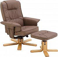 Tempo Kondela Relaxační křeslo s podnožkou, cappucino, LERATO + kupón KONDELA10 na okamžitou slevu 10% (kupón uplatníte v košíku)