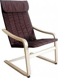 Tempo Kondela Relaxační křeslo TORSTEN - březové dřevo / hnědá látka + kupón KONDELA10 na okamžitou slevu 10% (kupón uplatníte v košíku)