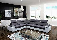 Tempo Kondela Rohová sedací souprava Marbela LUX, pravá - šedá / bílá + kupón KONDELA10 na okamžitou slevu 10% (kupón uplatníte v košíku)