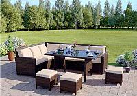 Tempo Kondela Zahradní set STARK - hnědá / krémová + kupón KONDELA10 na okamžitou slevu 10% (kupón uplatníte v košíku)