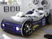 Dětská postel Energy 90x200 cm, modrá závodnička s osvětlením