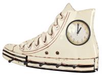 Nástěnný věšák s hodinami Ricky 89305, krémový