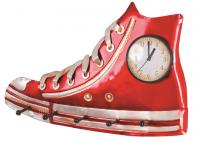 Nástěnný věšák s hodinami Ricky 89405, červený