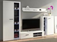Obývací stěna Rumba, bílá, s osvětlením