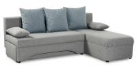 Rohová sedací souprava Polaris, šedá/modrá tkanina