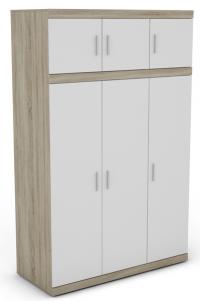 Šatní skřín Ares 3D, dub sonoma/bílá