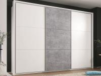 Šatní skříň Bravo, bílá/šedý beton