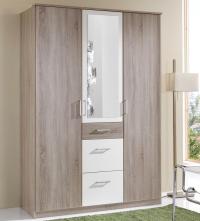 Šatní skříň Click, 135 cm, dub sonoma/bílá