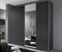 Šatní skříň Kronach, 175 cm, šedá/zrcadlo