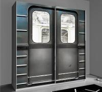 Šatní skříň Plagiato, bílá/motiv metro
