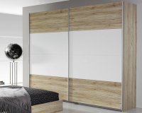 Šatní skříň s posuvnými dveřmi Bustas, 226 cm, dub san remo/bílá