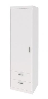 Úzká skříň se zásuvkami Mega 14, bílá