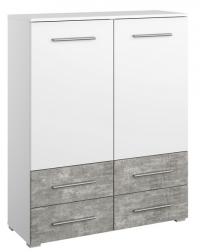 Vysoká komoda Siegen, bílý/šedý beton