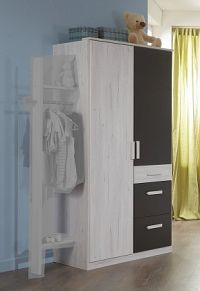 Cariba - Skříň dvoudveřová se zásuvkou (bílá dub, černá láva)