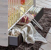 Cariba - Úložný prostor pod dět. postýlku (bílá dub, černá láva)