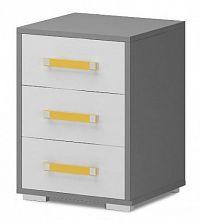 Diego 13 - Skříňka (přední strana bílá/šedé boky/žlutý úchyt)