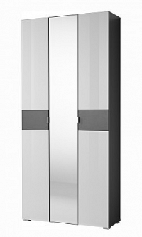 GW-Alameda - Skříň se zrcadlem (antracit/bílá)