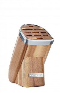 Blok na nože KitchenAid světlý akát 10 slotů  + nůž na čištění zeleniny 9 cm