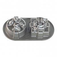 Nordic Ware Forma na pečení ve tvaru 2 dárků stříbrná 2 x 0,6 l