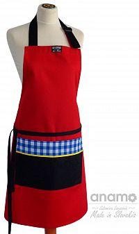 Zástěra Anamo classic červená s černou kapsou