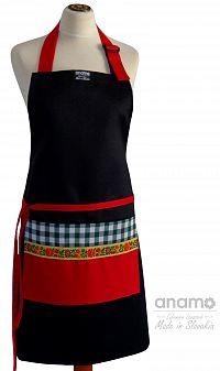 Zástěra Anamo lidová černá s červenou kapsou