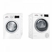 Set (Sušička prádla Bosch WTW876WBY) + (Automatická pračka Bosch WAT28467CS)
