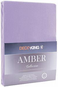 Bavlněné jersey prostěradlo s gumou DecoKing Amber fialové