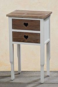 DekorStyle Noční stolek Kazien bílo-hnědý
