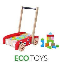 Dětské dřevěné chodítko s kostkami EcoToys červené