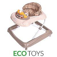 ECOTOYS Dětské vzdělávací chodítko s multimediálním panelem Eco Toys hnědé