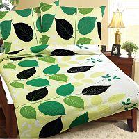 Bellatex Povlečení krep Zelené listy, 240 x 200 cm, 2 ks 70 x 90 cm